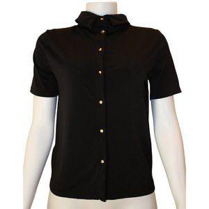 H&M Black Gold Button Down Short Sleeve Blouse